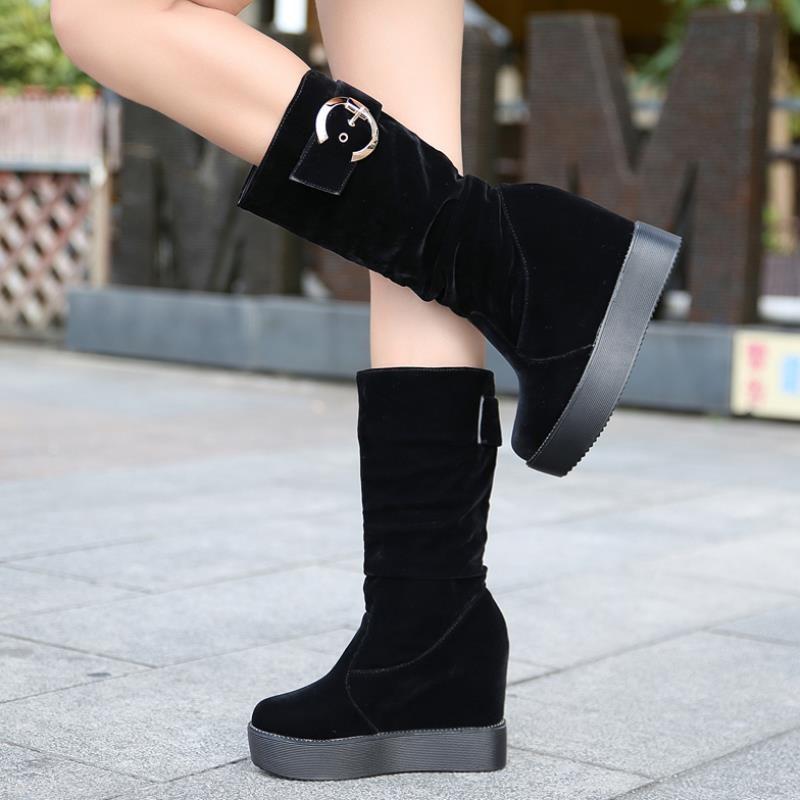 松糕中靴女秋冬圆头坡跟中筒靴子厚底防水台超高跟保暖高筒马丁靴