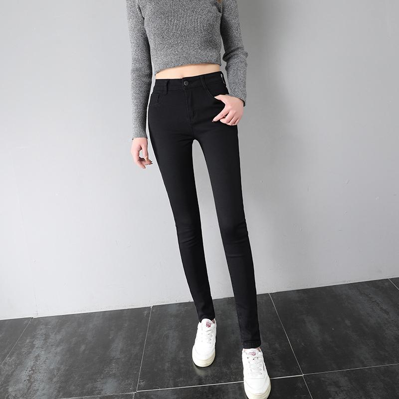 黑色牛仔裤女九分裤2019秋冬季新款高腰加绒弹力紧身显瘦小脚长裤