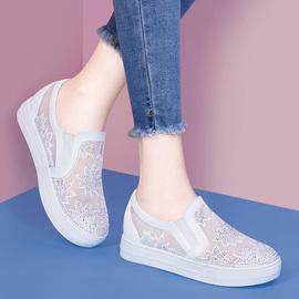 透气网纱女鞋2020春季新款内增高单鞋平底网面一脚蹬镂空小白鞋女