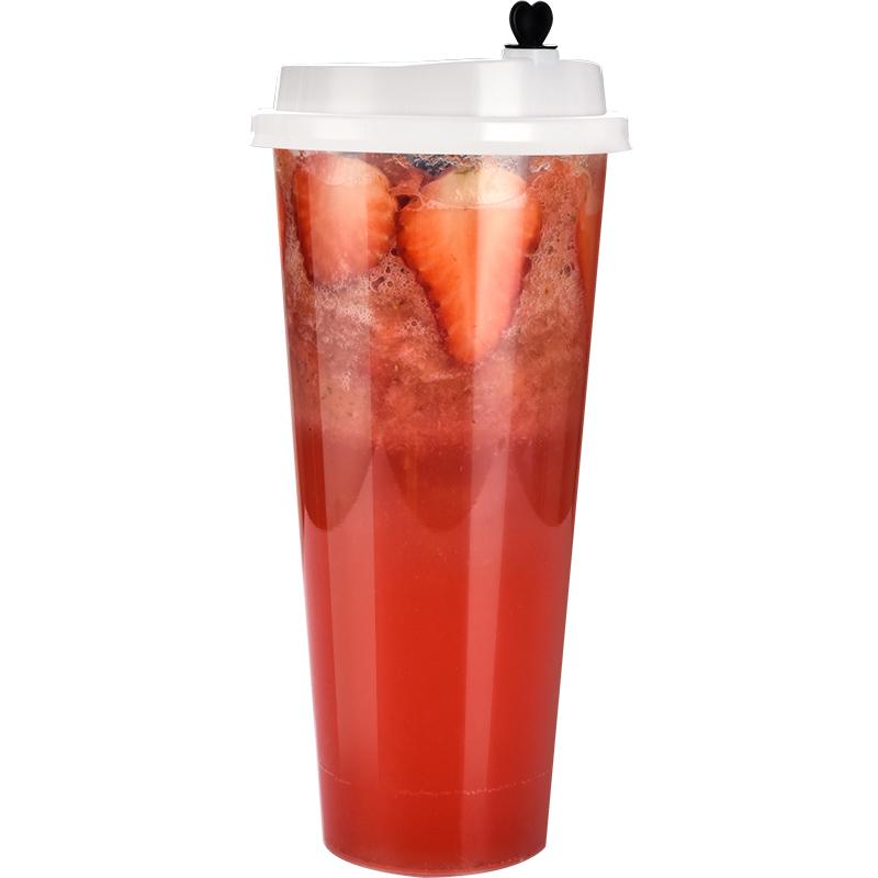 商吉注塑杯网红饮料杯一次性奶茶杯塑料杯果汁杯冷饮打包杯子带盖