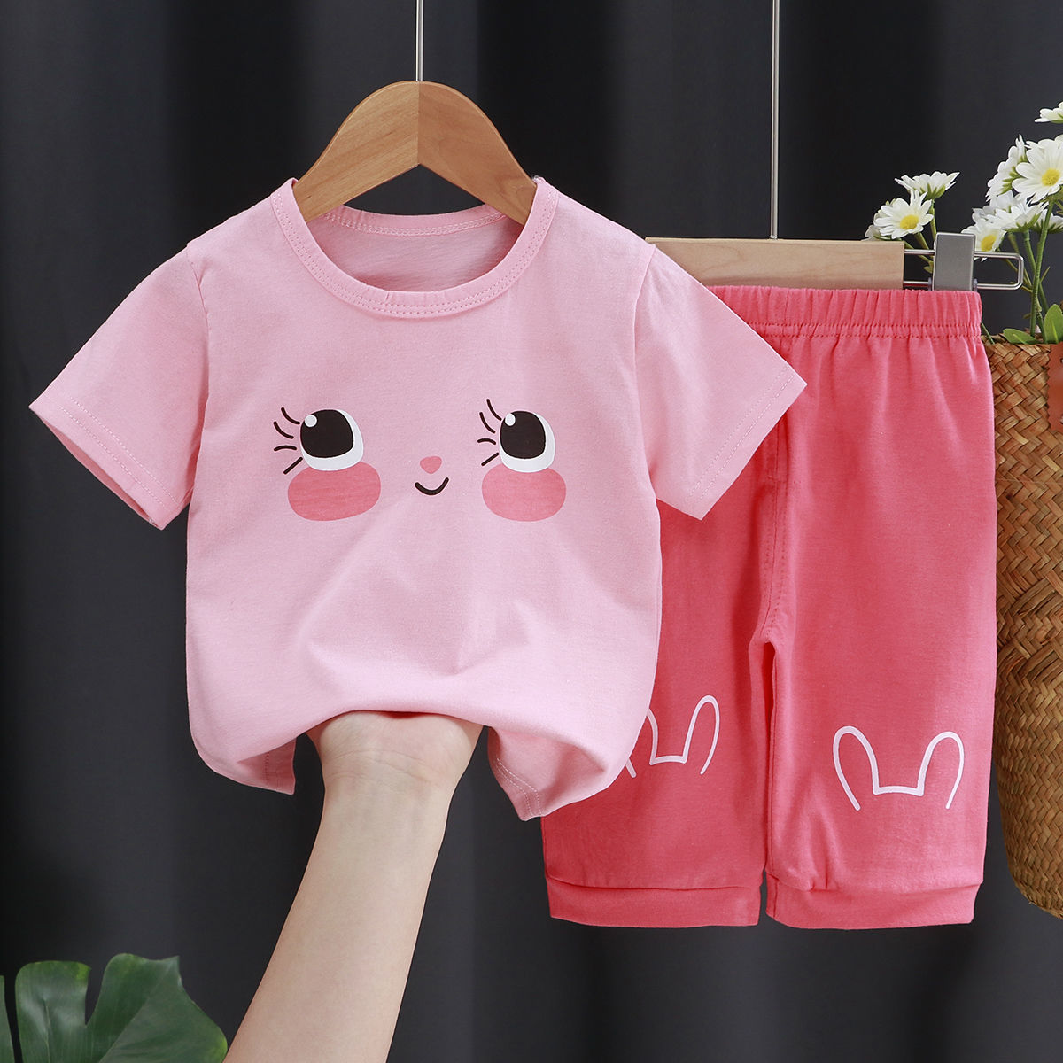 夏季儿童纯棉短袖套装中小童半袖短裤男童女童装夏装宝宝T恤0-7岁