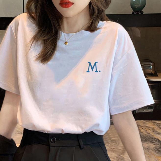 短袖t恤女夏装2021年新款宽松白色网红半袖女装休闲时尚上衣ins潮