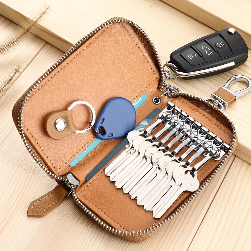 牛皮多功能腰挂锁匙包女 大容量真皮钥匙包男拉链男士汽车钥匙包