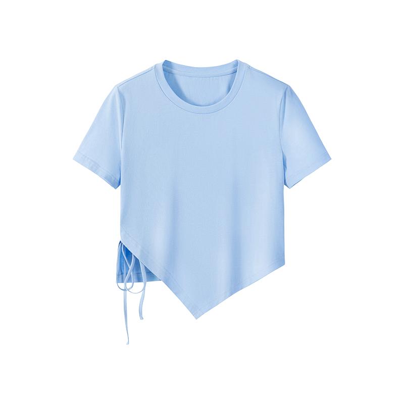 我是你的cc阿 黑色短袖不规则t恤女夏季薄款高级感修身百搭短上衣