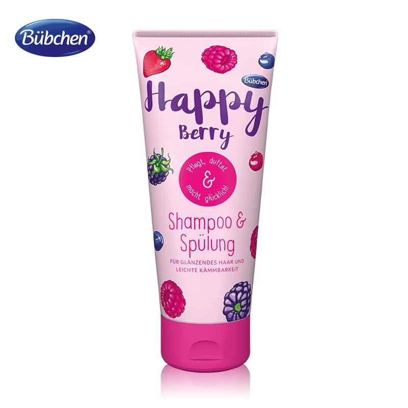 德国Bubchen贝臣莓果味洗头膏护发素6 12岁以上女孩中大童洗发水