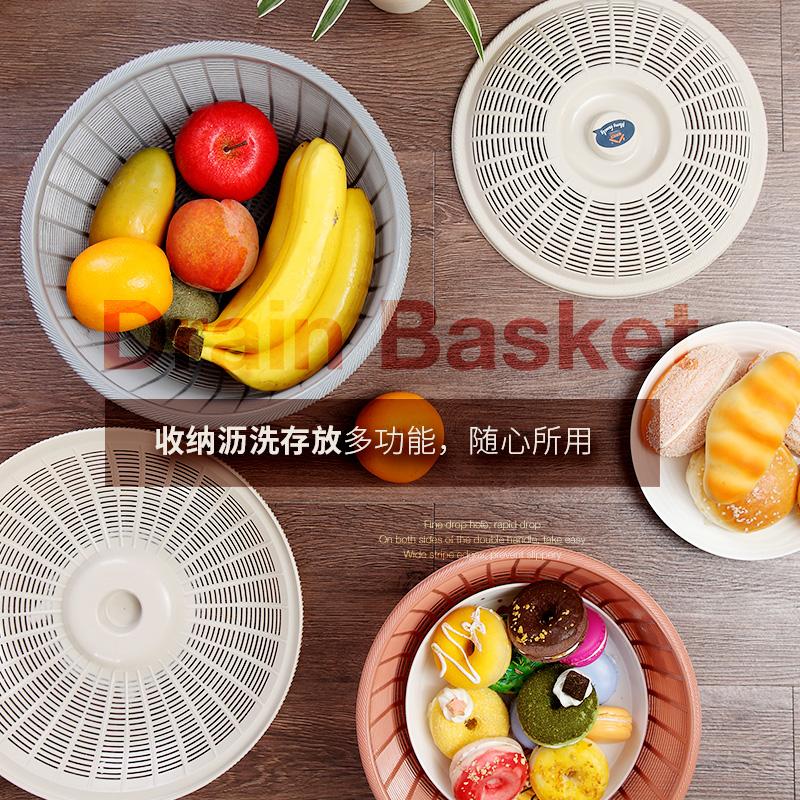 家用圆形带盖沥水篮子厨房塑料洗菜蔬果筛碗筷滤水篮鸡蛋篮保洁蓝