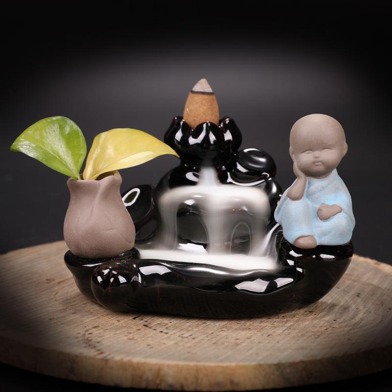 陶瓷中式观赏檀香炉家用室内禅意装饰个姓创意摆件 倒流香炉 普云