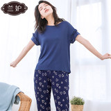 Blue jealous single shirt modal cotton solid color T-shirt female spring and summer thin section short-sleeved large size young and middle-aged pajamas home service