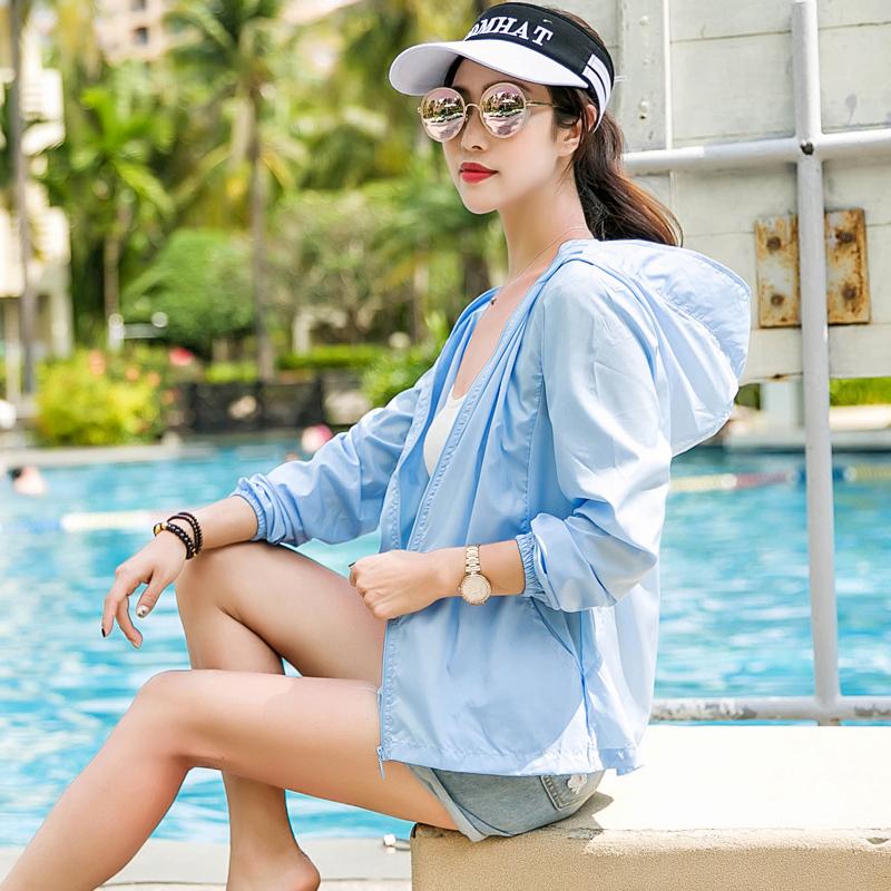 防晒衣女短款2019夏季新款薄款户外透气骑车外套防晒服女防紫外线