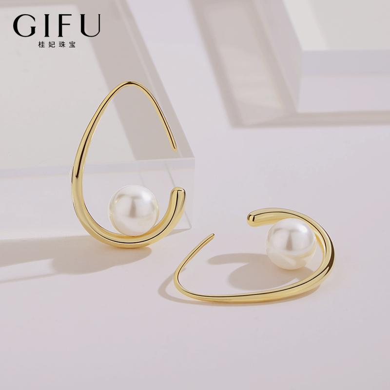 高级感耳环女纯银法式复古耳钉设计师原创仿珍珠耳坠 年新款潮  2020