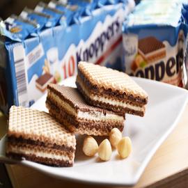 德国进口威化饼干knoppers牛奶榛子夹心巧克力休闲零食10连包250g