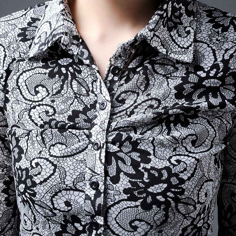 美哥弟妮亚秋冬新2019长袖衬衣网纱打底洋气显瘦上衣印花收腰衬衫