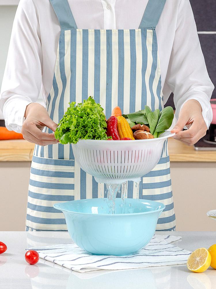 日本IRIS愛麗思雙層濾水洗水果盆 廚房加厚塑料瀝水籃ZB-21/24AG