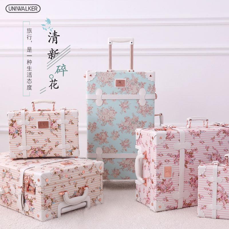 uniwalker復古旅行箱女拉桿箱萬向輪碎花行李箱登機箱20寸皮箱包