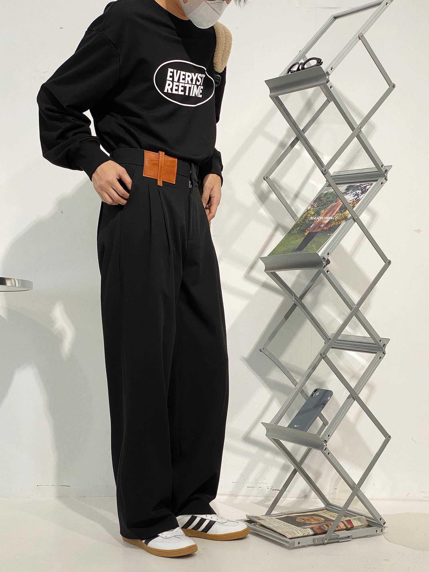 19studio 韩版小众设计直筒西裤垂坠感显瘦阔腿拖地宽松休闲裤男
