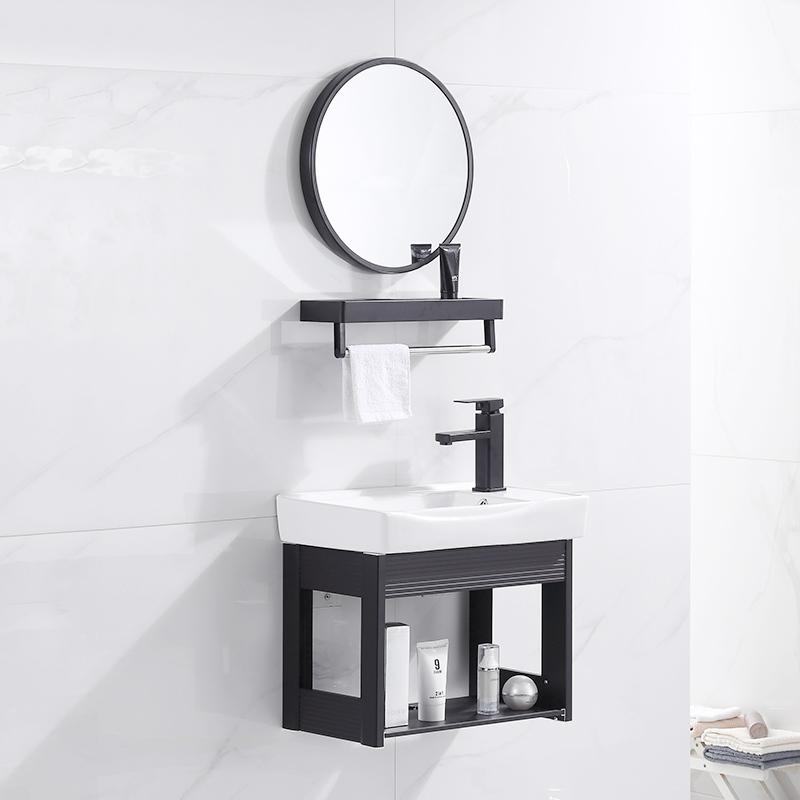 簡易洗臉盆柜組合掛墻式迷你洗手盆小戶型衛生間面盆三角陽臺陶瓷