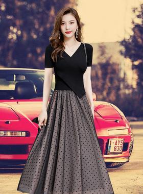 连衣裙女2020秋新款韩版气质长袖拼接中长款过膝修身收腰显瘦长裙