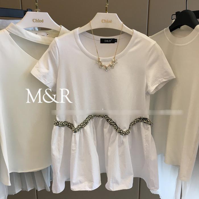 【天天特价】娃娃衫上衣女装2017钉珠圆领短袖T恤胖mm韩版显瘦