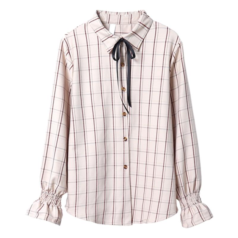 春季新款女装韩版小清新复古衬衣蝴蝶结系带格子喇叭袖衬衫上衣潮