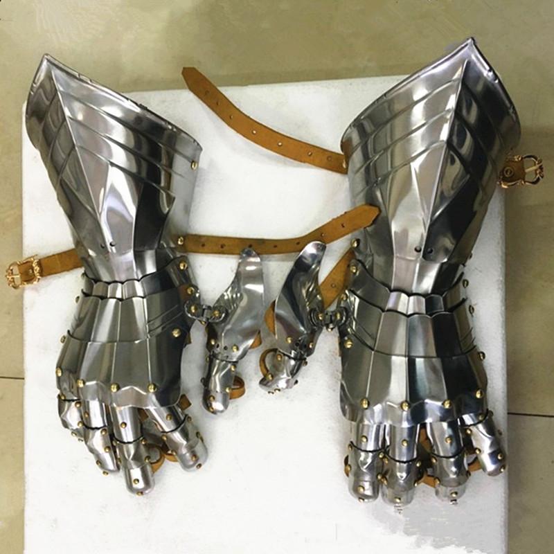 亮面不锈钢真人可穿欧洲中世纪哥特护手盔甲头盔高端金属Cos道具