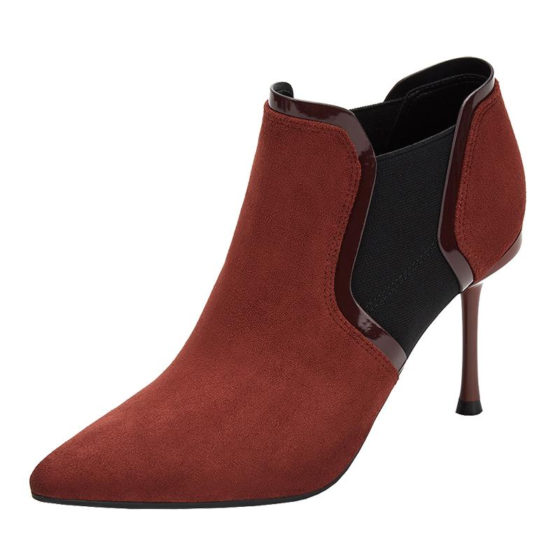 秋款绒面百搭及踝靴裸靴春秋单靴尖头细跟女靴 2019 达芙妮短靴女鞋