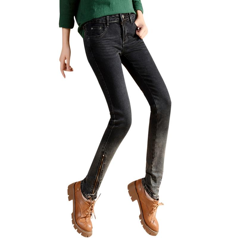 黑色牛仔裤女紧身小个子泫雅裤秋季小脚裤修身显瘦铅笔裤长裤