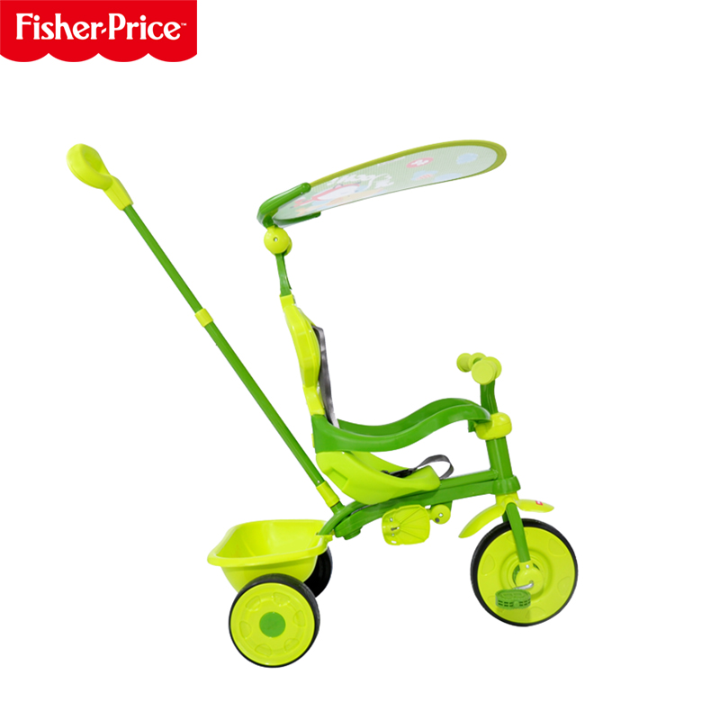 费雪三轮车多功能儿童脚踏车男女宝宝手推车小孩童车带蓬加厚推车
