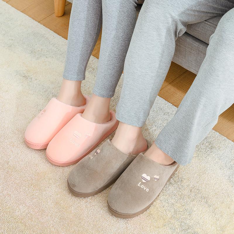 新款爱心毛绒棉拖鞋  情侣家居鞋 冬季加厚保暖防滑  拍大一码