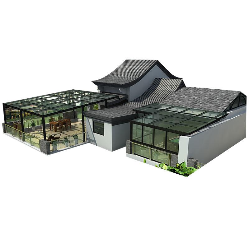 新视窗 坡顶阳光房设计定制 阳台露台花园钢结构铝合金钢化玻璃房
