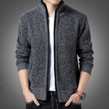 God autumn and winter male Korean self collar cardigan sweater tide plus thick velvet sweater coat male