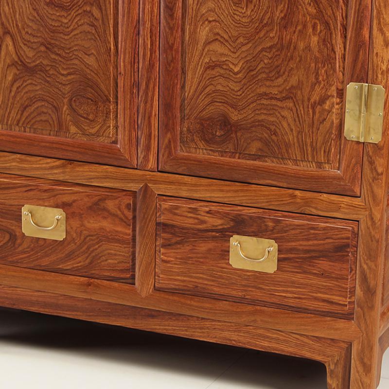 八方客实木花梨木衣柜 新中式原木家具卧室红木顶箱柜刺猬紫檀