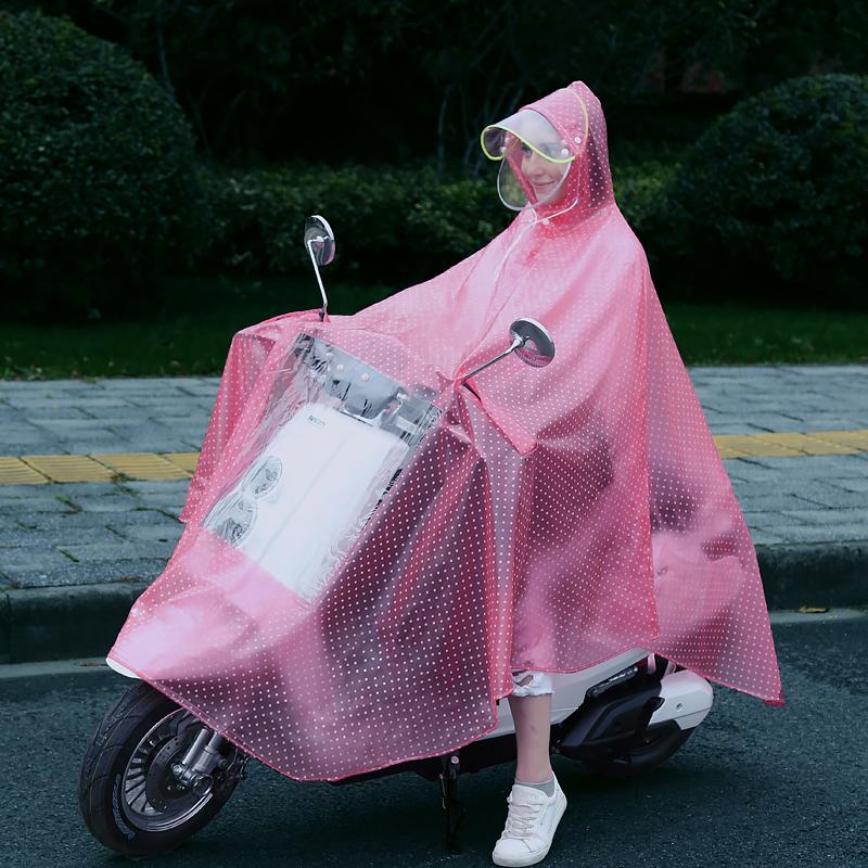 电瓶车摩托电动车雨衣女防暴雨长款单人全身时尚成人加厚透明雨披