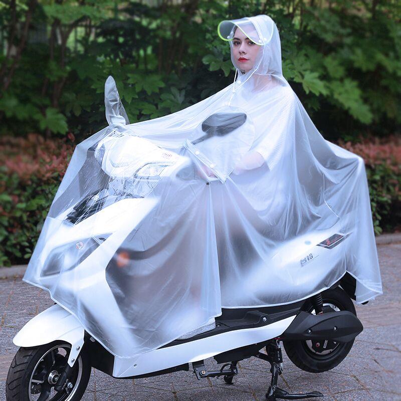 电瓶车摩托电动车雨衣女款女士长款单人全身时尚成人加厚透明雨披