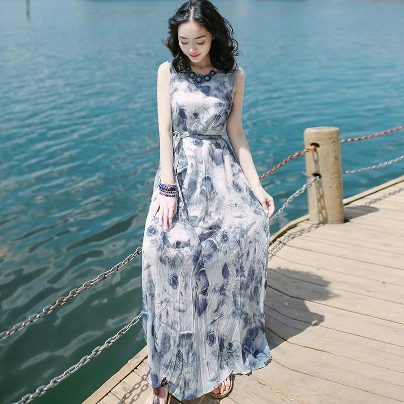 2019夏季新款女装超仙雪纺显瘦连衣裙高腰宽松长裙海边度假沙滩裙