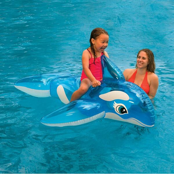 INTEX58523浮排水上漂流衝浪充氣透明藍鯨坐騎游泳圈水上游泳裝備