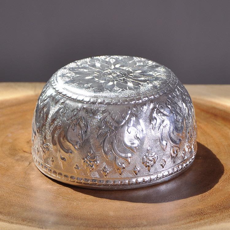 热销东南亚装饰碗 泰国餐厅酒店家居餐具银色锡碗水疗用品spa美容