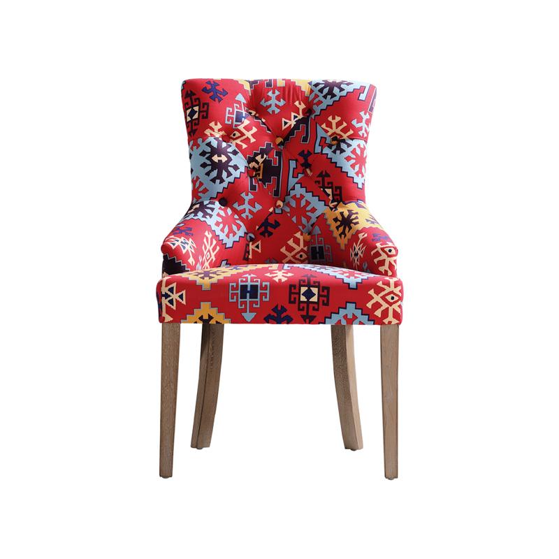 HC 欧式古典高背餐椅 美式乡村酒店会议室接待洽谈椅休闲麻布艺椅
