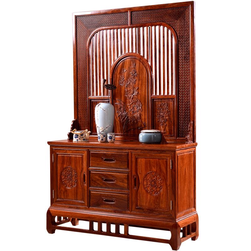 王木匠 红木屏风隔厅柜入户玄关 新中式花梨木隔断装饰柜高端品质