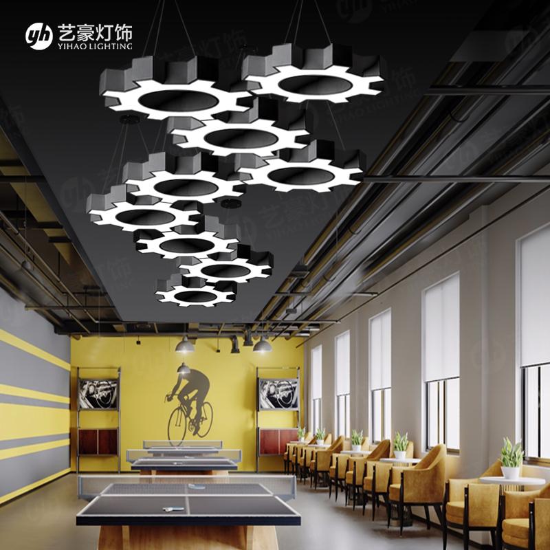 简约现代酒吧工业风齿轮铁艺灯具 创意办公室网咖艺术灯 吊灯 loft