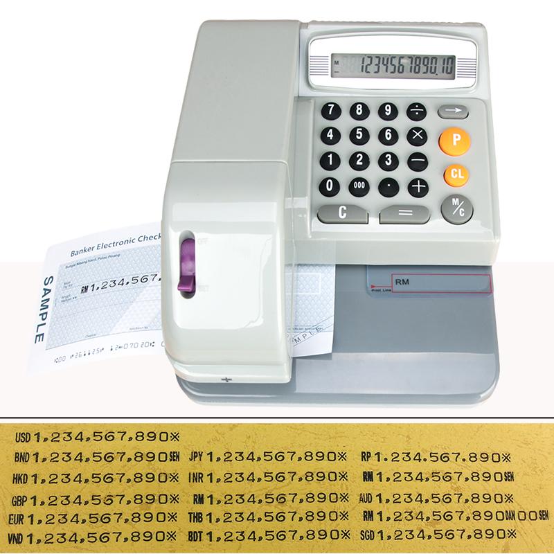 英文支票打印机小型香港马来新加坡多国货币打字机支票打字机自动