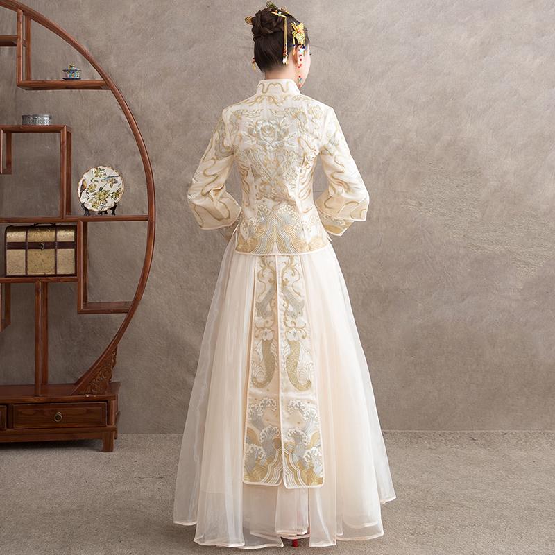 秀禾服新娘2019新款结婚旗袍敬酒服女婚纱礼服中式中国风金色秀禾