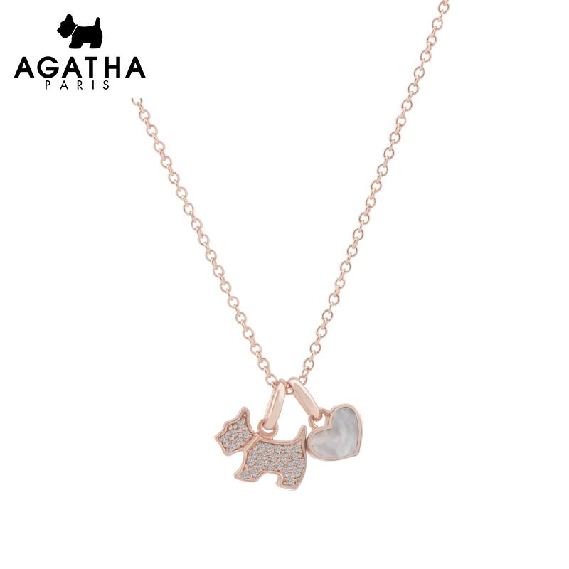 AGATHA 925银甜美小狗爱心吊坠项链女简约气质锁骨链女情侣礼物