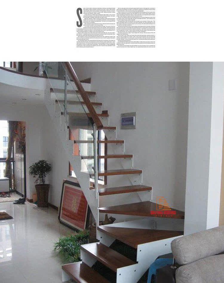 百耀楼梯 特价 室内整体楼梯 复式楼梯 钢木楼梯 双梁单板