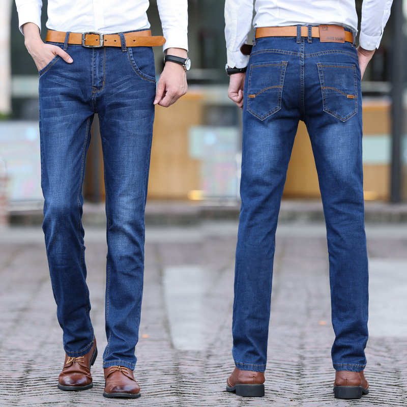 青年秋季高弹力牛仔裤男士厚薄款宽松弹性高腰胖子加肥加大码长裤