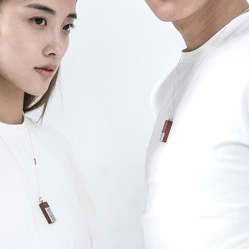 情侣刻字吊坠银木项坠原创小众设计男女定制挂坠紫檀文字创意礼物