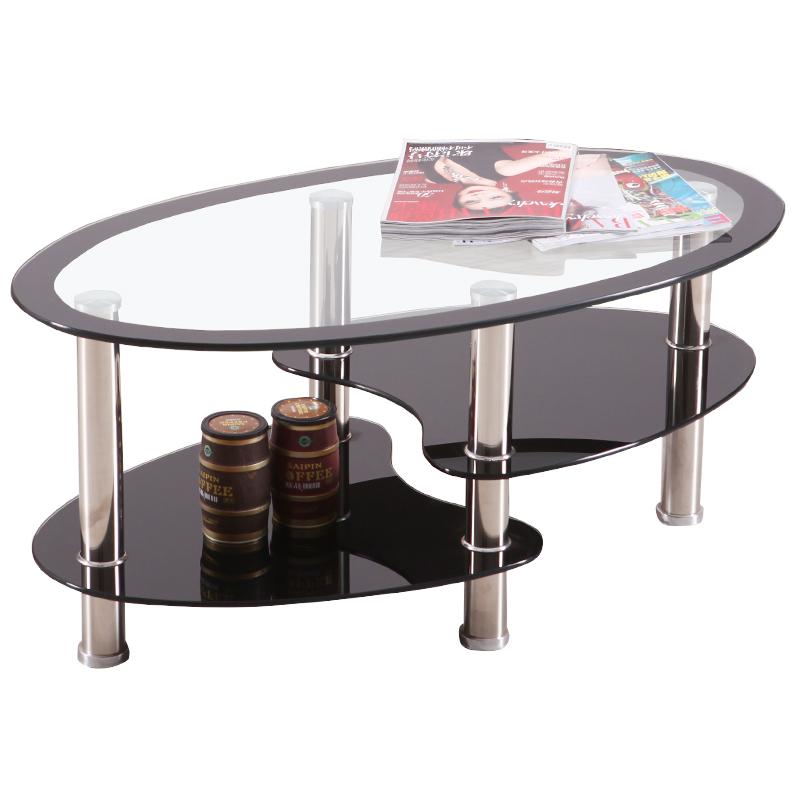 创意椭圆形茶几小户型钢化玻璃家用客厅沙发茶几简约现代茶几桌子