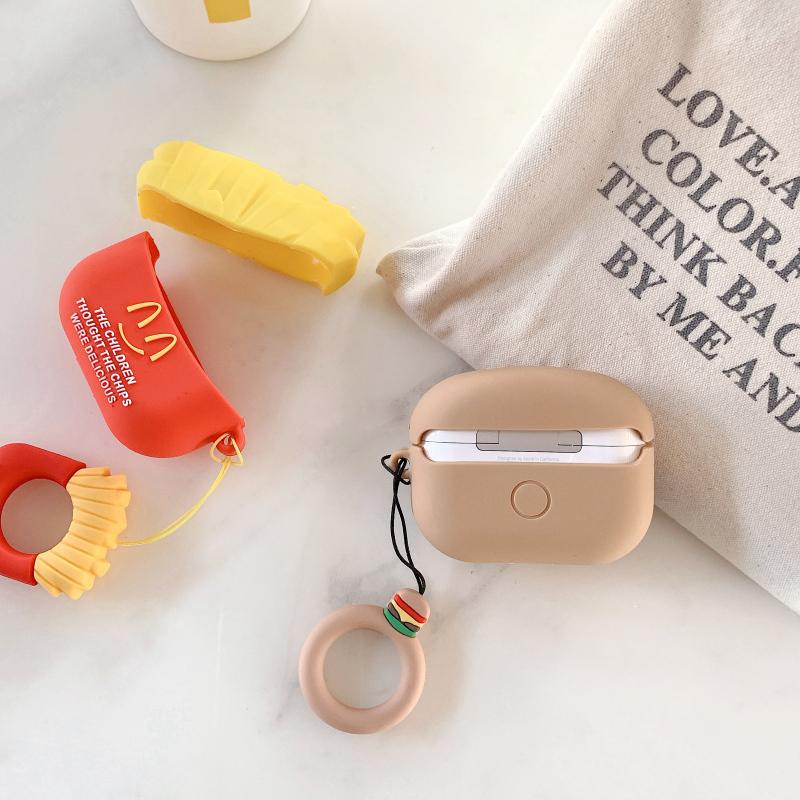 汉堡包AirPods Pro保护套苹果1/2无线蓝牙耳机套创意ins薯条软壳