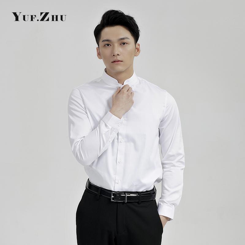 秋冬商务职业装长袖立领衬衫男士西装白衬衣纯棉 YUF.ZHU2018