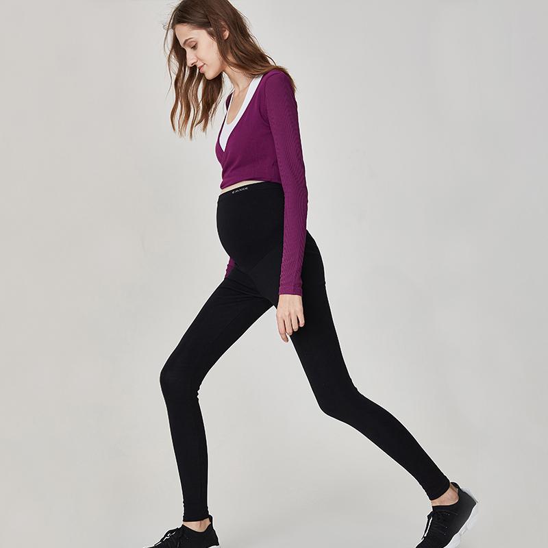 嫚熙孕妇打底裤外穿九分长裤子托腹时尚秋装冬季加绒新款运动潮妈