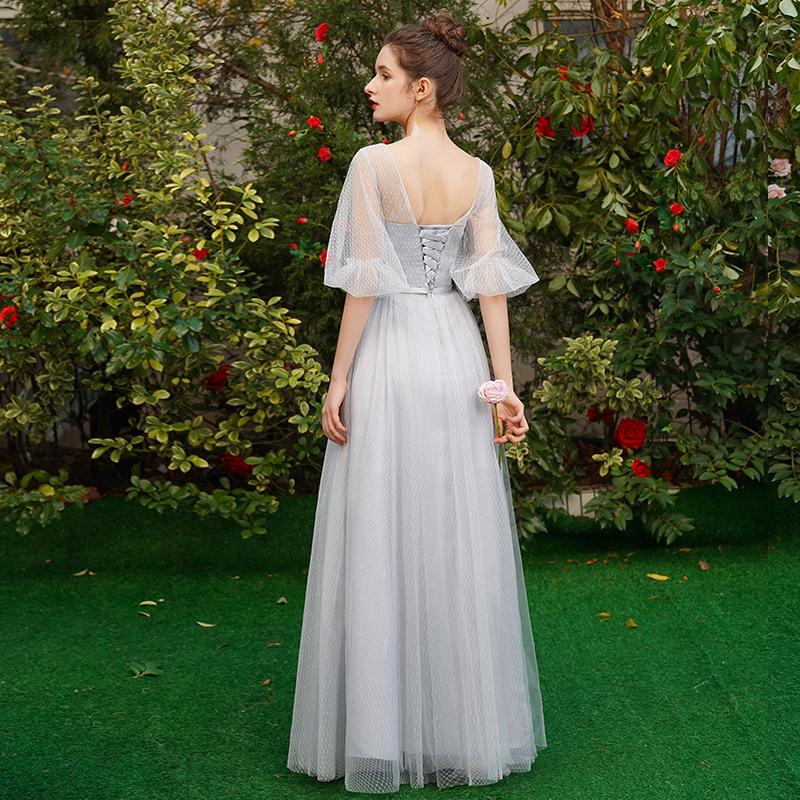 伴娘服长款2019新款夏修身灰色伴娘礼服女姐妹团婚礼晚礼服连衣裙